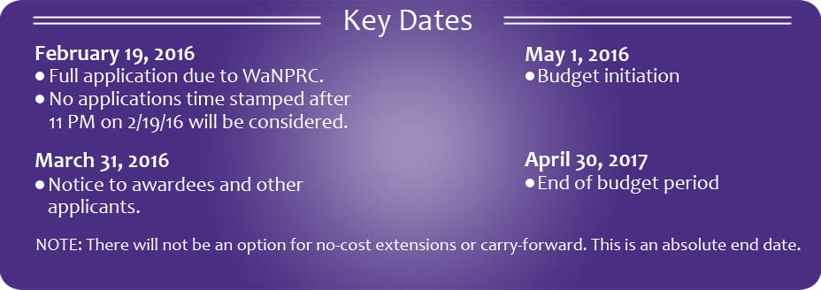 2016 Key Dates for Ignition Pilot Program from the Washington National Primate Research Center