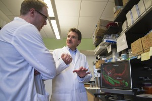 Research scientist James Fugate (left) and Dr. Charles Murry (right) at the Murry lab in South Lake Union.Promising new heart disease treatment being researched at the Washington National Primate Research Center receives $25 million funding infusion.